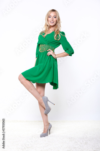 beautiful blonde in green dress