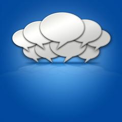 Chat Bubbles on Blbue 3D Background Stage