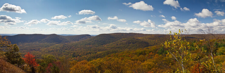 Panoramic View of New York Mountains in Fall