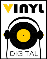 vintage record and headphones graphic design