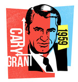 retro illustration cary grant vector