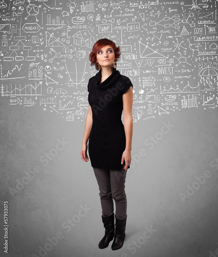 Young pretty lady with hand drawn calculations and icons