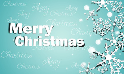 Christmas Greeting Snow Blue Background