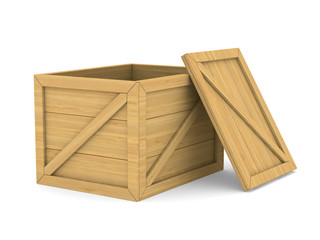 empty wooden box. Isolated 3D image
