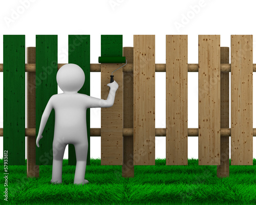 man paints fence on white background. Isolated 3D image