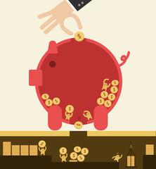 Put coin in piggy bank but got stolen. Saving concept.