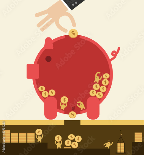 Put coin in piggy bank but got stolen. Saving concept.