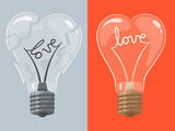 Love lightbulb in shape of heart. Vector illustration.