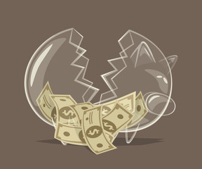 Broken glass piggy bank. Vector illustration.