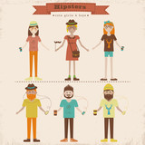 Cartoon illustration of young people with hipster fashion style.