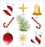 Set of Christmas items. Vector
