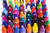 Brightly colored wax crayons