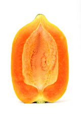 Papaya slice isolated on white
