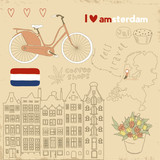 Vector set of Amsterdam symbols on vintage old papers.