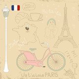 Vector set of Paris symbols on vintage old papers.