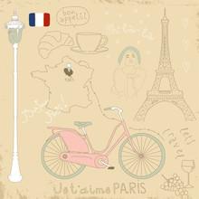 Vektor-Satz von Symbolen Paris auf Vintage alten Papieren.