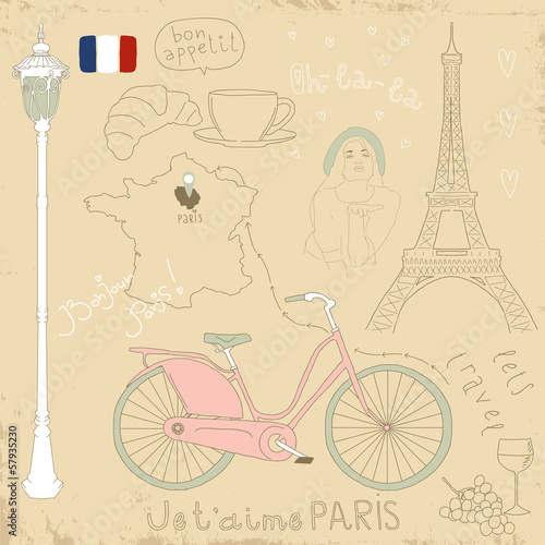 Foto op Aluminium Doodle Vector set of Paris symbols on vintage old papers.