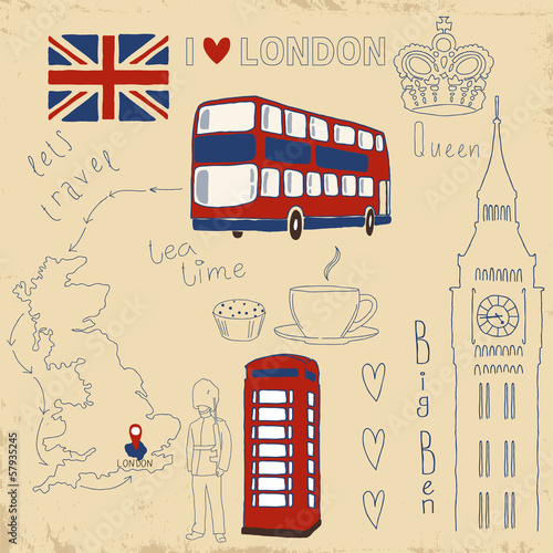 Tuinposter Doodle Vector set of London symbols on vintage old papers.