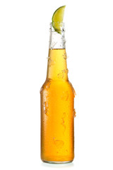 cold bottle of beer with lime