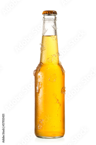 cold bottle of beer with ice - 57935431