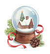 Watercolor illustration of snow globe