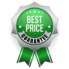 Green metallic best price badge with ribbon