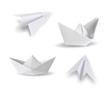 set of paper ship and paper plane on white - 57936292