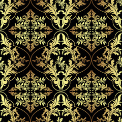 Luxury ornamental Wallpaper: gold and charcoal.