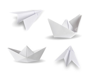set of paper ship and paper plane on white