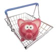 A piggy bank looking out of a metal shopping basket