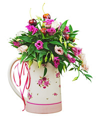 Colorful flower bouquet from roses and fruits in vase isolated o