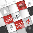 red and grey square christmas infographic background