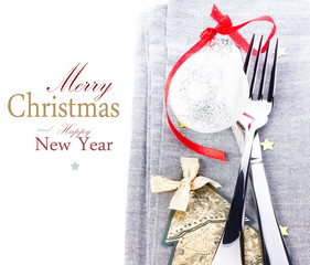 Christmas card with Festive  table place setting and christmas d