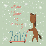 Card with a horse. The symbol of the new year. Shopping