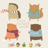 Cute animals living in the forest. Cute vector set.