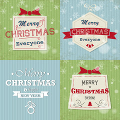 blue and gren retro christmas cards