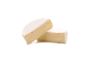 Two pieces of cheese Brie