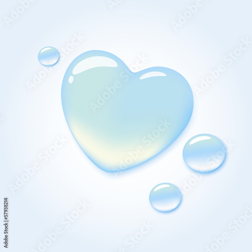 Pure water drop in shape of heart