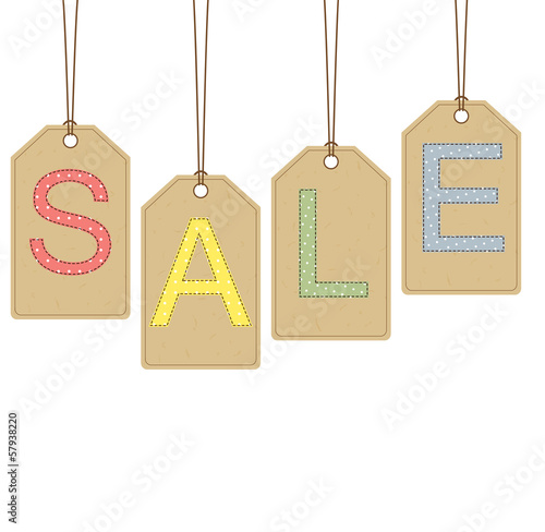 Sale banner with dotted and stitched letters