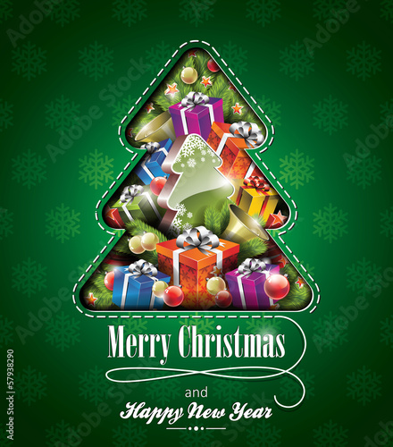 Vector Christmas illustration with abstract tree design
