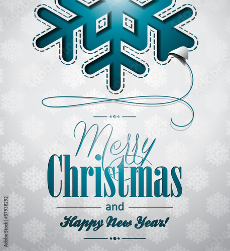 Vector Christmas illustration with snowflakes design