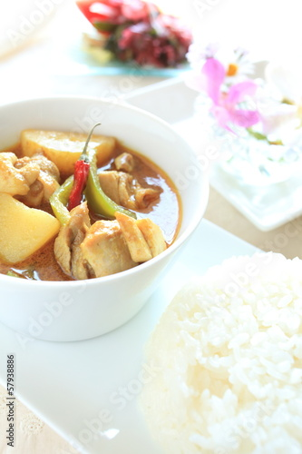 Thai cuisine, yellow chicken curry with rice