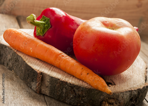 vegetable on wood background