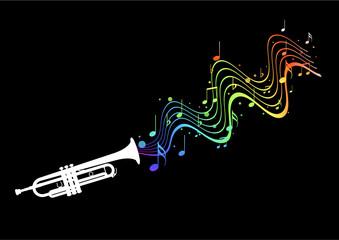 Trompette - portée sinusoïdale arc en ciel