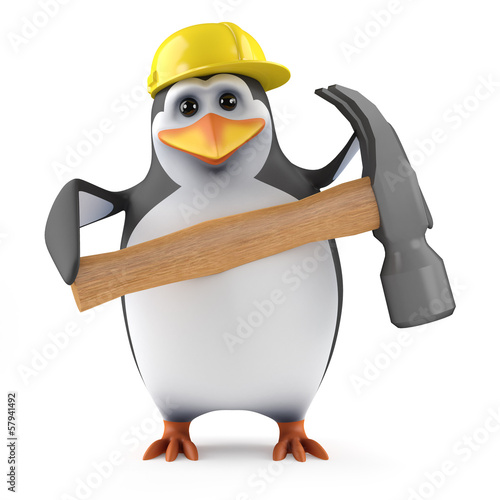 Penguin builder with a big hammer