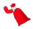 Santa Claus hand holding a bag