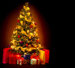 Christmas Tree with Gifts isolated on black background