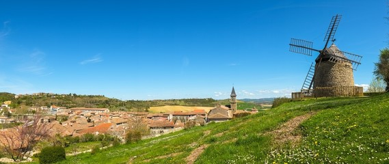 Panoramic view of old Lautrec village, France