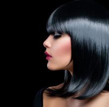 Beautiful Brunette Girl. Beauty Frau mit kurzen schwarzen Haaren
