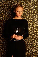 Beautiful young girl  wearing black evening dress